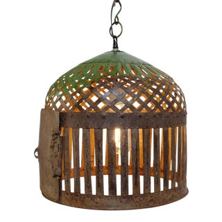 Industrial Iron Basket Cage Lantern For Sale