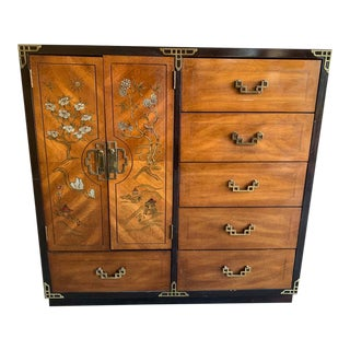Bassett Furniture Asian Inspired Chinoiserie Chest of Drawers For Sale