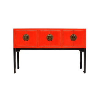 Chinese Oriental Red Black Tall Narrow Side Console Foyer Table For Sale