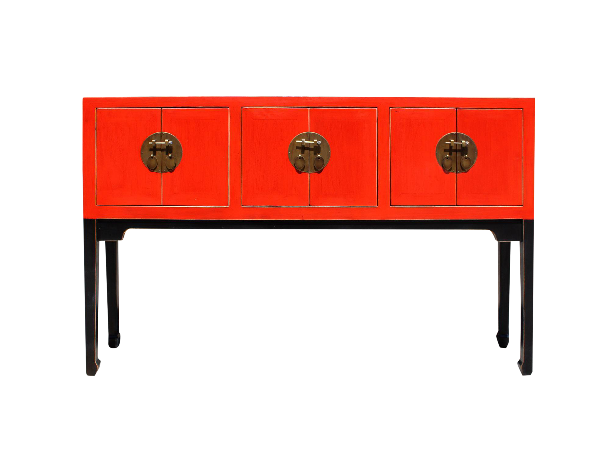 Chinese Oriental Red Black Tall Narrow Side Console Foyer Table