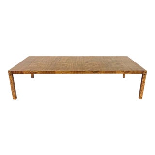 Mastercraft Inlaid Burled Elm and Mahogany Parsons Coffee Table by Michael Thomas For Sale