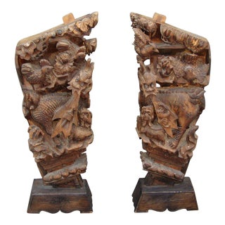 Chinese Zodiacal Year Carved Wood Base Pedestals - a Pair For Sale