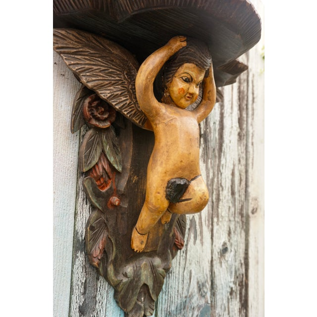 Hand-Carved Victorian Putti Angel Wall Shelf | Large Demilune Nude Winged Angel Wall Display | Religious Gothic Dimensional Decor For Sale - Image 11 of 12