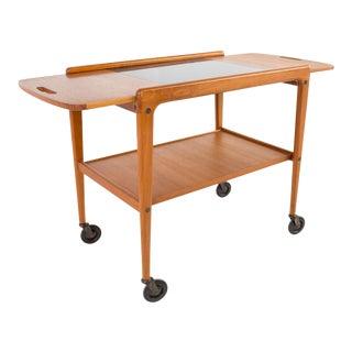 Yngve Ekstrom for Kellemo Mid Century Danish Teak Drop Side Expanding Bar Cart For Sale