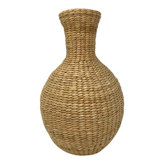Woven Jute-Wrapped Glass Water Jug Vase For Sale