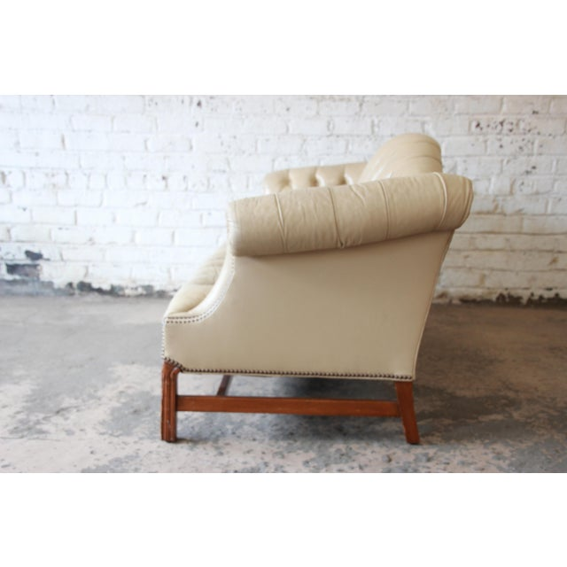 Tan Vintage Tufted Tan Leather Chesterfield Sofa For Sale - Image 8 of 10