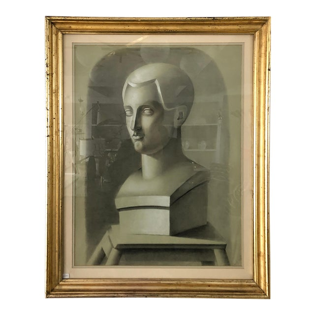 Vintage Charcoal Portrait in Neoclassic Style For Sale
