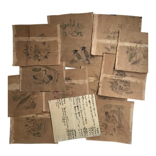 Antique Chinese Watercolor Scroll Paintings - Set of 13 For Sale