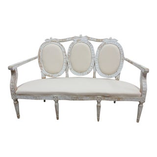 Original Painted Swedish Gustavian 3 Seat Back Settee For Sale