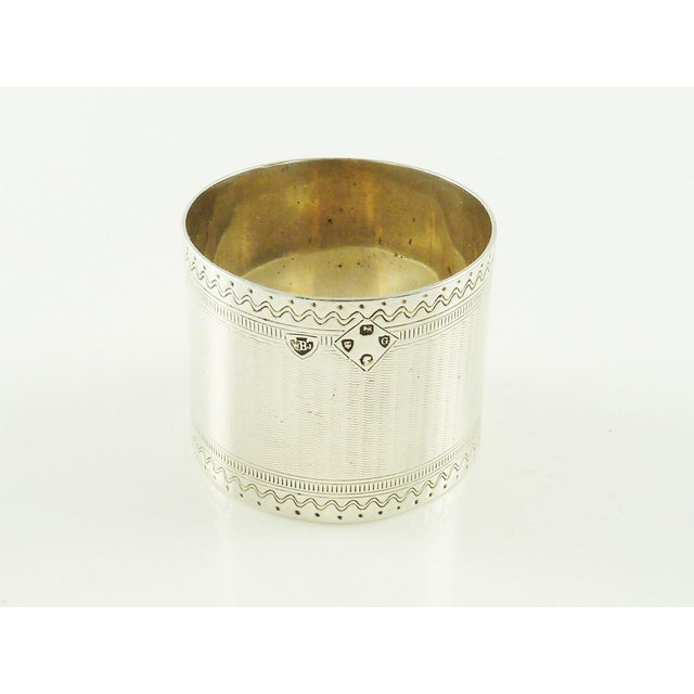 Antique Victorian Era Sterling Silver Childs Napkin Ring Christening Gift For Sale - Image 4 of 7