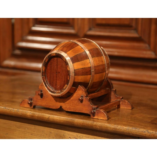 Metal Early 20th Century French Carved Fruitwood and Brass Cognac Barrel on Stand For Sale - Image 7 of 9
