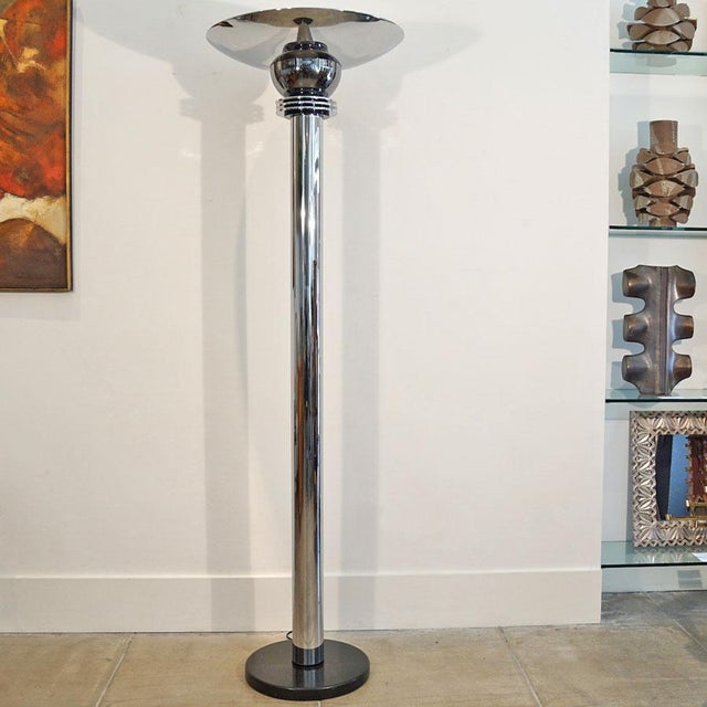 This is a Walter Prosper Torchere floor lamp. Chrome and pewter art deco torchere with a black marble base. Double ceramic...