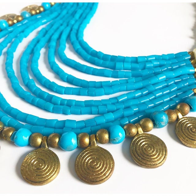 Vintage Beaded Turquoise Style Necklace With Faux Gold Metal Coins For Sale - Image 10 of 11