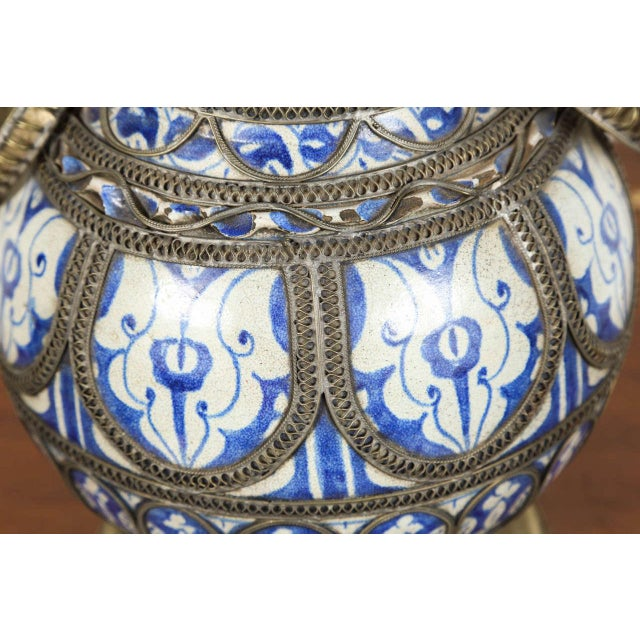 Metal Antique Moroccan Ceramic Vase From Fez For Sale - Image 7 of 9