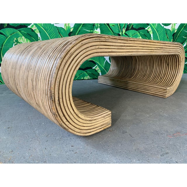 Hollywood Regency Split Reed Rattan Wrapped Scroll Coffee Table in the Style of Crespi For Sale - Image 3 of 9