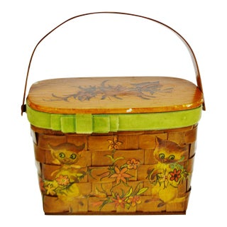 Vintage Woven Wood Decoupage Lidded Basket with Kitten Design For Sale