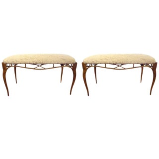 1960s Vintage Italian Gilt Metal Benches- a Pair For Sale