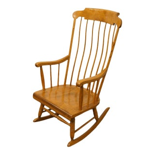Nichols & Stone Solid Hard Rock Maple Windsor Rocking Chair For Sale
