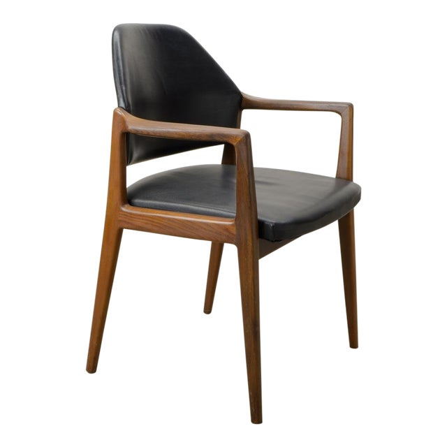 Mid-Century Scandinavian Design Teak Wood and Leather Side / Desk Chair, 1960s For Sale