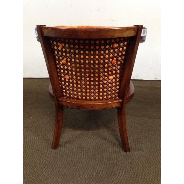 Antique Walnut & Cane Velvet Upholstered Armchair - Image 5 of 5