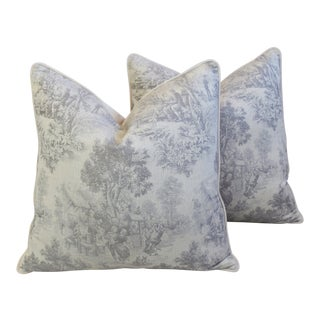 "French Country Woven Toile Feather/Down Pillows 26"" Square - Pair For Sale"