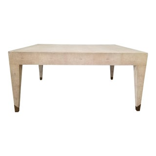 Karl Springer Style Faux Shagreen Coffee Table . For Sale