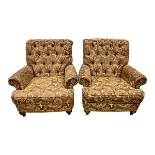 Ethan Allen Upholstered Chesterfield Tufted Club Chairs - a Pair For Sale
