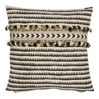 Boho Chic Schumacher Corfu Stripe Black Linen Cotton Two-Sided Pillow With Maracana Pom Tape For Sale