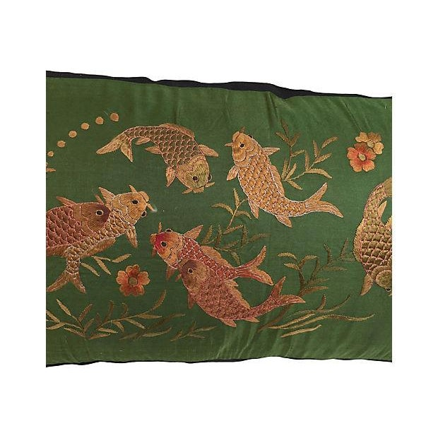 Asian Embroirered Koi Fish Jade Silk Pillow - Image 5 of 5