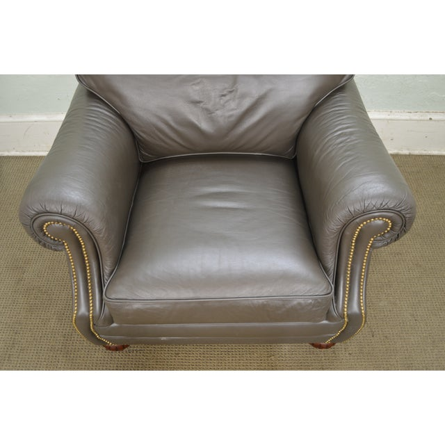 Quality Leather Club Chair W/ Ottoman For Sale - Image 11 of 12