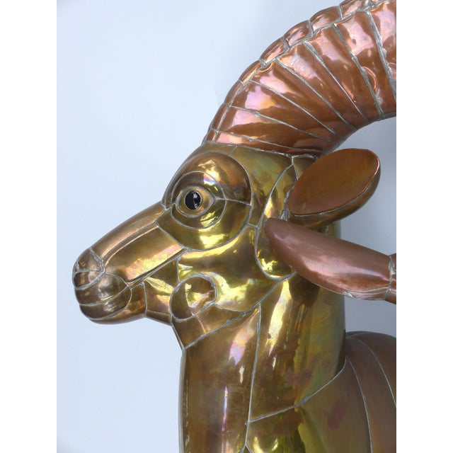 1970s 1970s Sergio Bustamante Life-Size Mexican Mixed Metals Ram's Head Wall Sculpture For Sale - Image 5 of 13