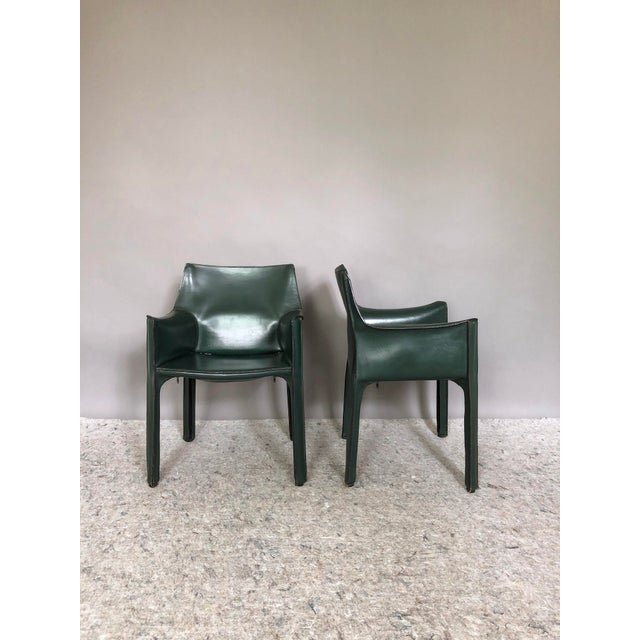Mid-Century Modern Mario Bellini for Cassina Cab 413 Chairs - a Pair For Sale - Image 3 of 8