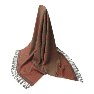 Red and Grey Hand Loomed Cashmere Anichini Throw For Sale