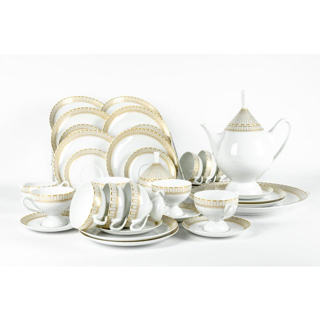Exquisitely beautiful Art Deco German Porcelain Luncheon tea or coffee service for ten people. Every piece is in excellent...