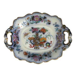 Antique English Ironstone Chinoiserie Blue Flow Footed Serving Dish For Sale
