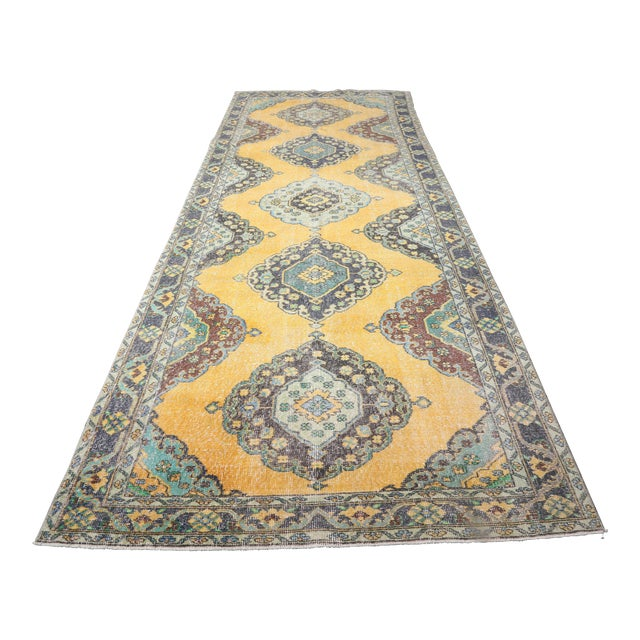 1960's Vintage Turkish Hand-Knotted Wide Long Runner-4′7″ × 12′10″ For Sale