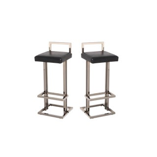 Maison Jansen Chrome and Black Leather Bar Stools For Sale