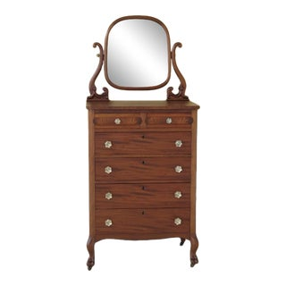 1920s Vintage Mahogany Clawfoot High Chest with Mirror For Sale