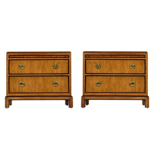 Drexel Heritage Hollywood Regency Burlwood & Brass Nightstands For Sale