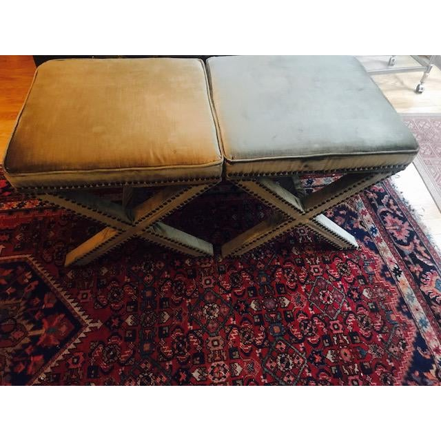 American Classical Safavieh Velvet Palmer X Bench, Pair (2 Benches/Stools) For Sale - Image 3 of 7