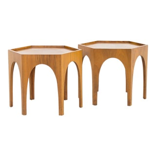 1960s Brutalist Harvey Probber Style Walnut Side End Tables - a Pair For Sale