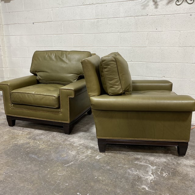 Swaim Olive Leather Club Chairs - a Pair For Sale - Image 12 of 13