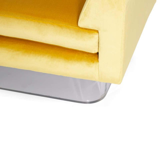 1970s Lucite and Yellow Silk Velvet Bench For Sale - Image 5 of 7