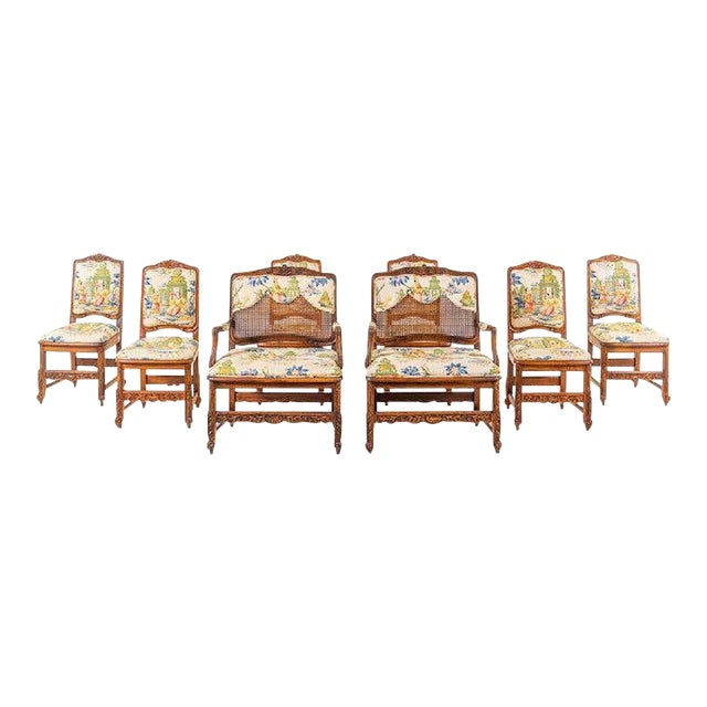 Large Set of Schumacher French Provincial Cane Wood Chinoiserie Upholstered Dining and Host Chairs by Interior Crafts - Set of 8 For Sale
