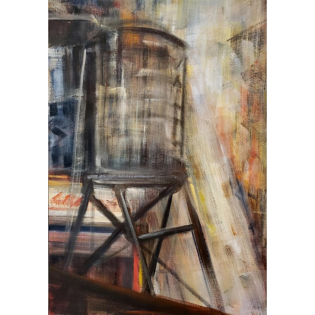 Contemporary Painting of New York City Rooftops and Water Towers by M. C. Pajeile For Sale - Image 3 of 6