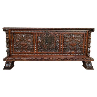 Catalan Baroque Carved Walnut Cassone or Trunk, 18th Century For Sale