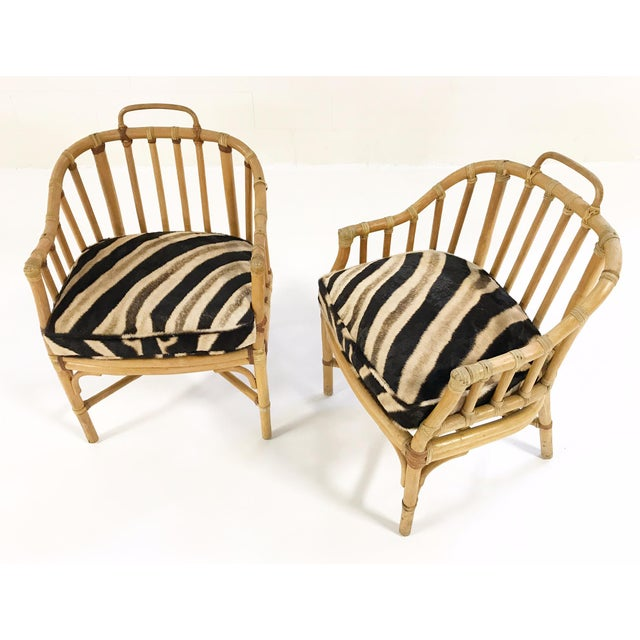 Forsyth Rattan Armchairs with Custom Zebra Hide Cushions - A Pair For Sale In Saint Louis - Image 6 of 7