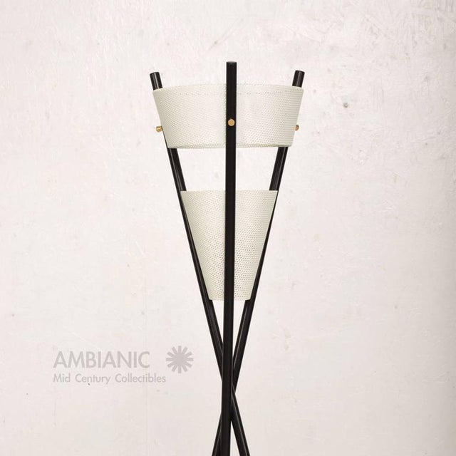 Metal Mid Century Modern Black Tripod Floor Lamp After McCobb For Sale - Image 7 of 7