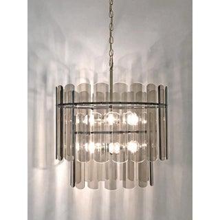 Smoke Glass 36 Panels 2 Tier 12 Light Chandelier Mid Century Modern Preview