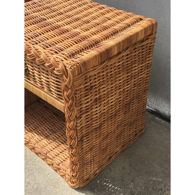 Italian woven and braided rattan from The Wicker Works of San Francisco, CA. Circa 1970s Campaign style. It has a Braided...